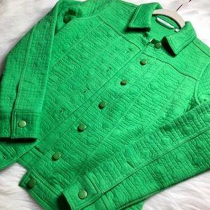 Vibrant Green Quilted Pea Coat ISAAC MIZRAHI LIVE